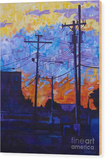 Parking Lot Sunset Wood Print