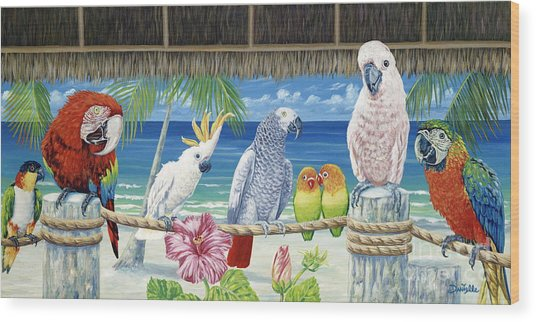 Parrots In Paradise Wood Print