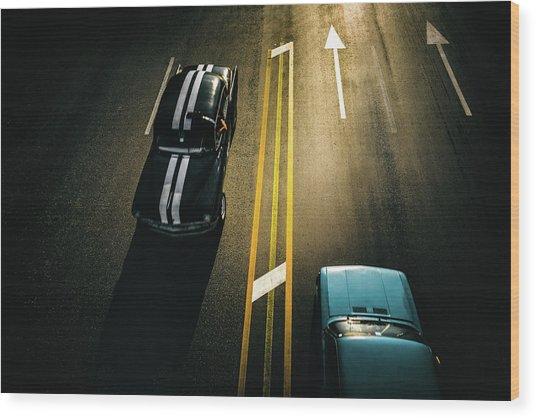 Passing Cars Wood Print