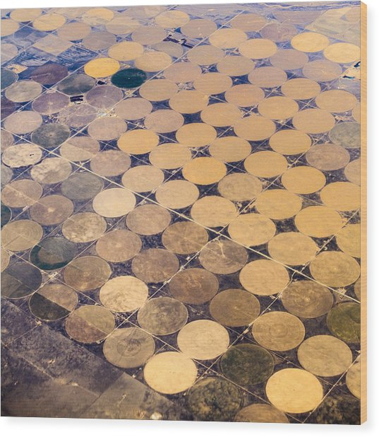 Patchworks. Aerial View To Texas's Fields Wood Print