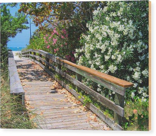 Pathway To Beach Wood Print