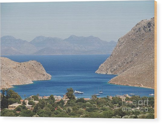 Pedi Bay Symi Wood Print