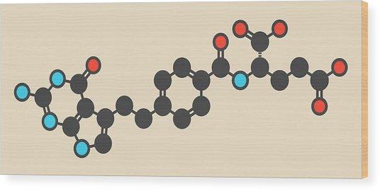 Pemetrexed Lung Cancer Drug Molecule Wood Print by Molekuul