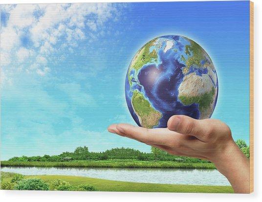 Person Holding Globe Wood Print by Leonello Calvetti