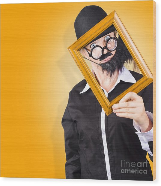 Person Setting Their Social Media Profile Picture Wood Print