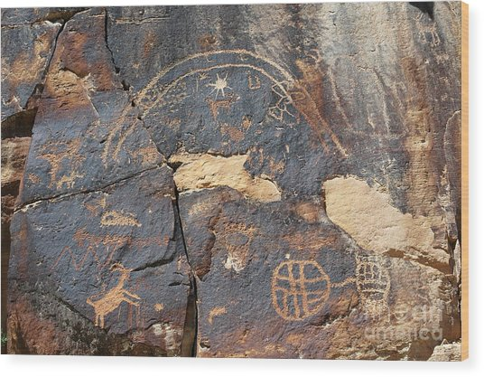 547p Petroglyph - Nine Mile Canyon Wood Print