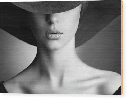 Photo Of Beautiful Woman In Retro Style Wood Print by Coffeeandmilk