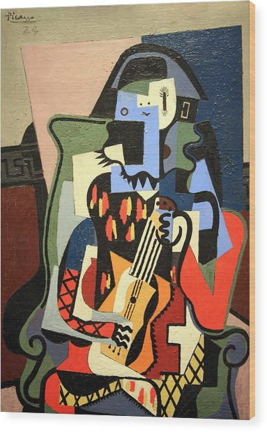 Picasso's Harlequin Musician Wood Print