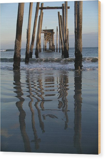 Pier Reflections Wood Print
