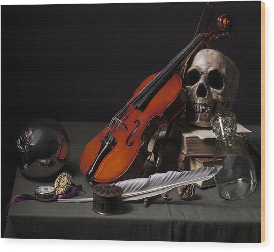 Pieter Claesz - Vanitas Still Life With Violin And Glass Ball - 1628 Wood Print