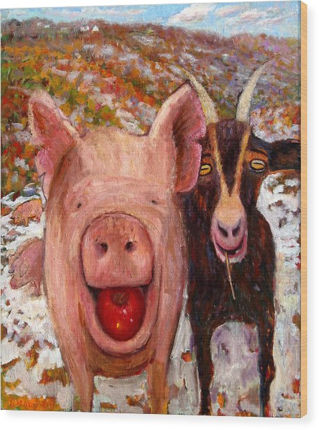 Pig And Goat Wood Print