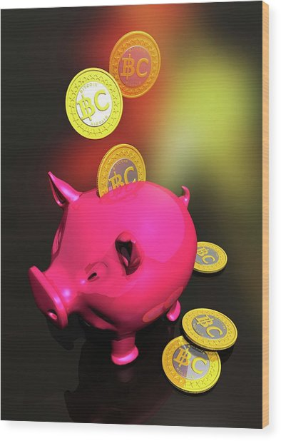 Piggy Bank And Bitcoins Wood Print by Victor Habbick Visions