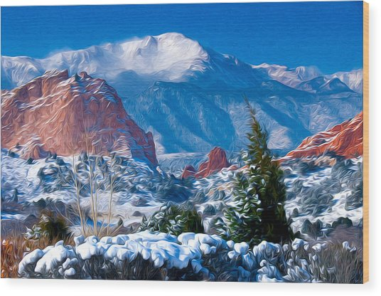 Pikes Peak In Winter Wood Print