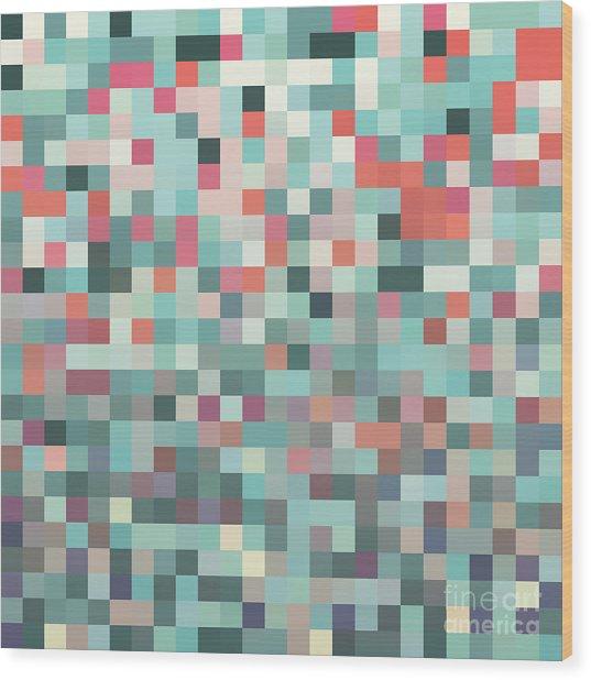 Pixel Art Style Pixel Background Wood Print