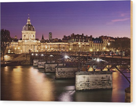 Wood Print featuring the photograph Pont Des Arts And Institut De France / Paris by Barry O Carroll