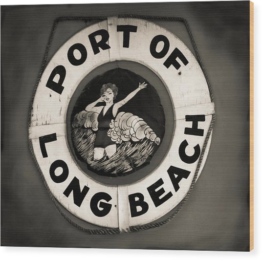 Port Of Long Beach Life Saver Vin By Denise Dube Wood Print