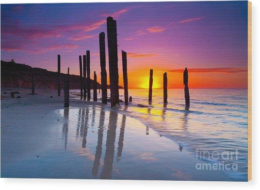 Port Willunga Sunset Wood Print