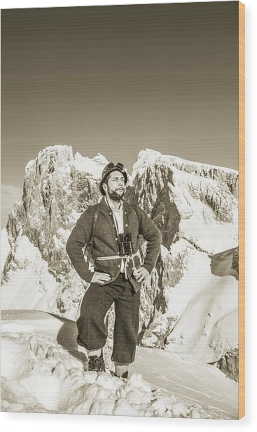 Portrait Of A Bearded Man In Old Nostalgic Skiing Outfit Wood Print by Leander Nardin