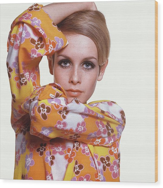 Portrait Of Twiggy Wood Print