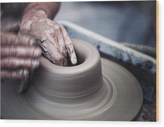 Pottery Wheel Wood Print
