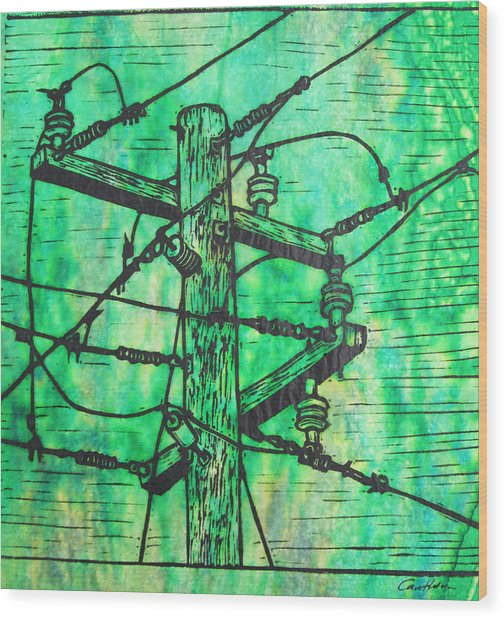 Power Lines Wood Print by William Cauthern
