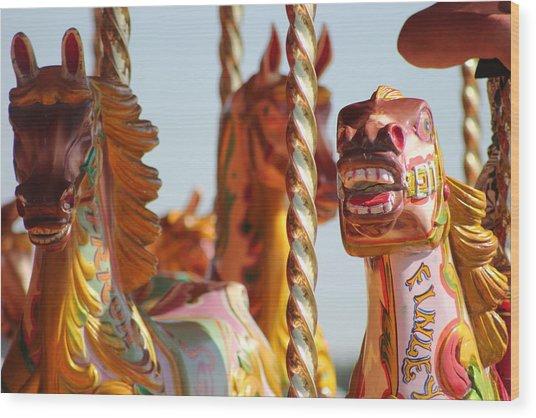 Pretty Carousel Horses Wood Print