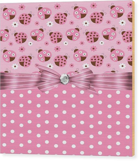 Pretty Pink Ladybugs  Wood Print