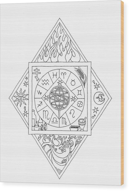 Wood Print featuring the drawing Prophecy by Mary J Winters-Meyer