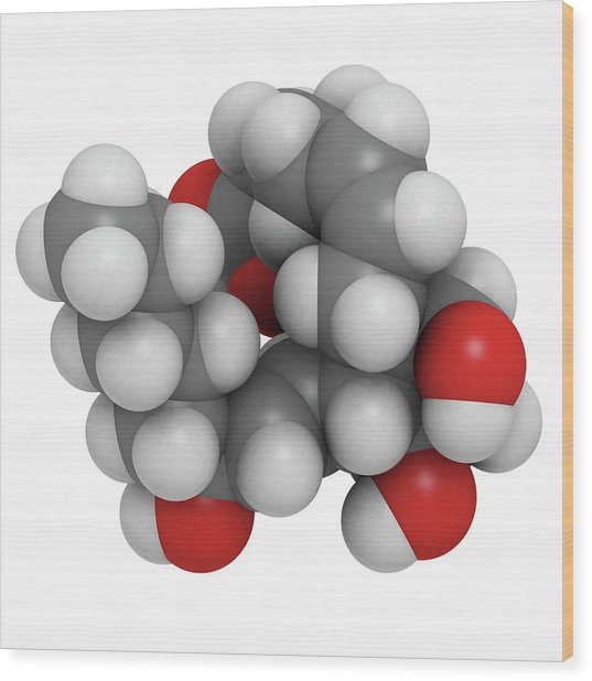 Prostaglandin F2alpha Drug Molecule Wood Print by Molekuul/science Photo Library