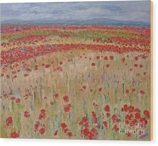 Provence Poppies Wood Print