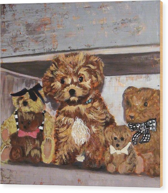 Puppy And Bears Wood Print