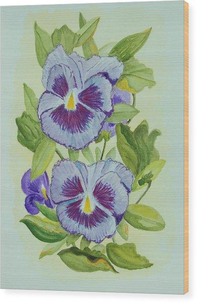 Purple Pansies IIi Wood Print