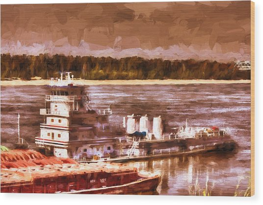 Riverboat - Mississippi River - Push That Barge Wood Print