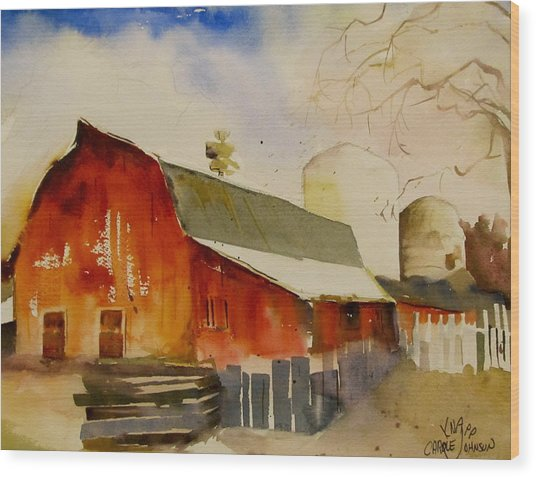 Quiet Red Barn Wood Print