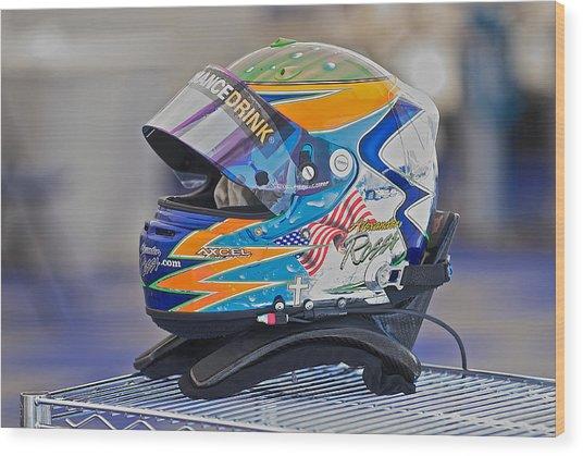 Racing Helmet 2 Wood Print by Dave Koontz