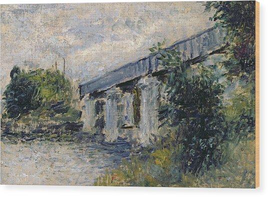 Railway Bridge At Argenteuil Wood Print