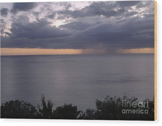 Rain On The Ocean Wood Print