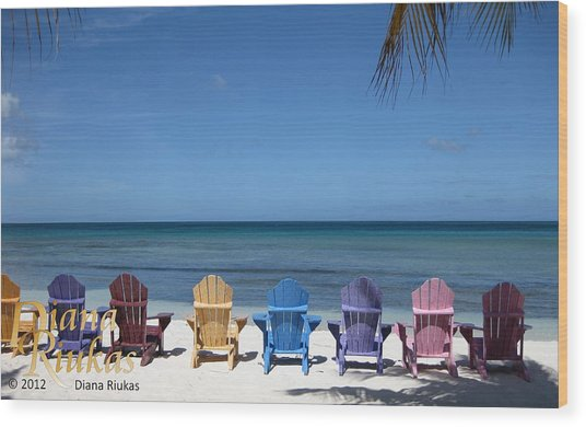 Rainbow Color Of Chairs Wood Print
