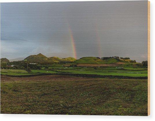 Rainbows Over The Mountain Wood Print