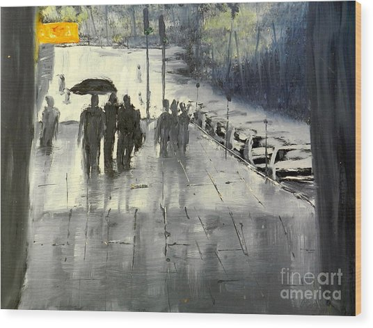 Rainy City Street Wood Print