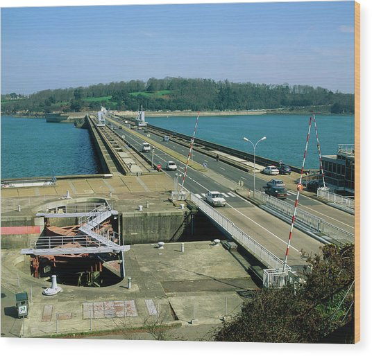 Rance Tidal Power Barrage Wood Print by Martin Bond/science Photo Library