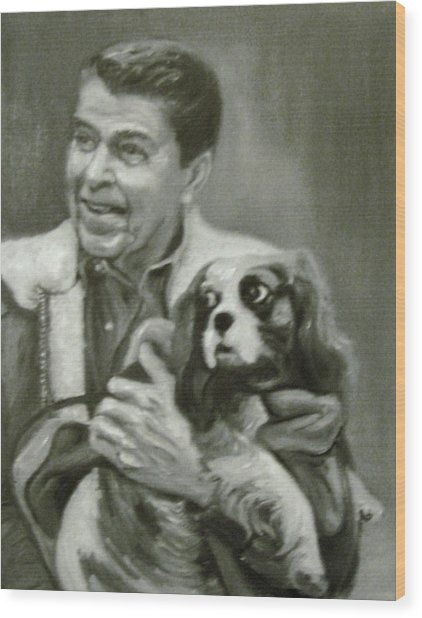 Reagan And Rex Wood Print