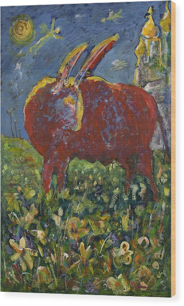 Red Bull In The Flower Field Wood Print