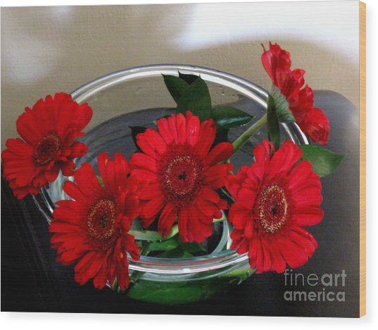 Red Flowers. Special Wood Print