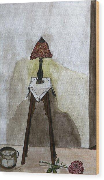 Red Lamp Wood Print