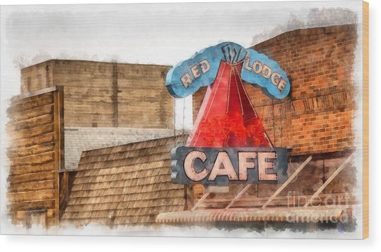 Red Lodge Cafe Old Neon Sign Wood Print