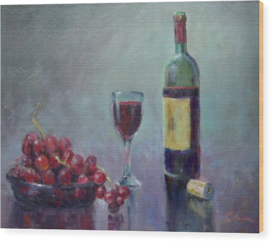 Red - Red Wine Wood Print by Ron Wilson