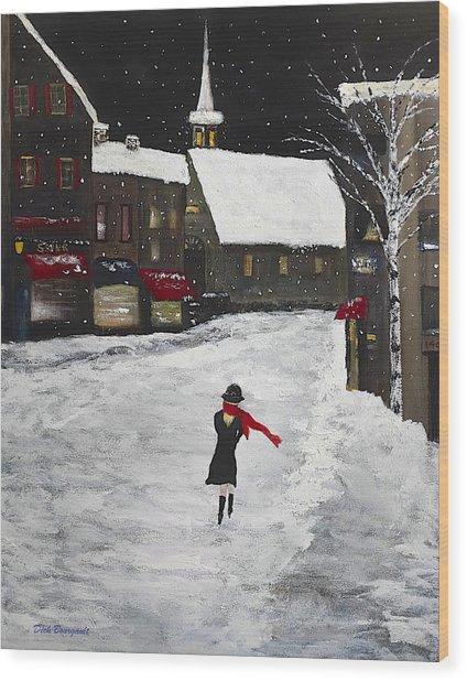 Red Scarf Winter Scene Wood Print
