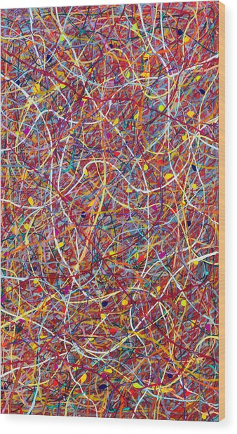 Red String Theory Wood Print by Patrick OLeary