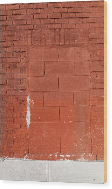 Red Wall With Immured Door Wood Print
